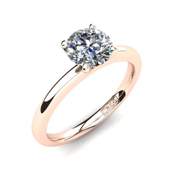 18kt Rose Gold, Solitaire Setting with Half Round Band
