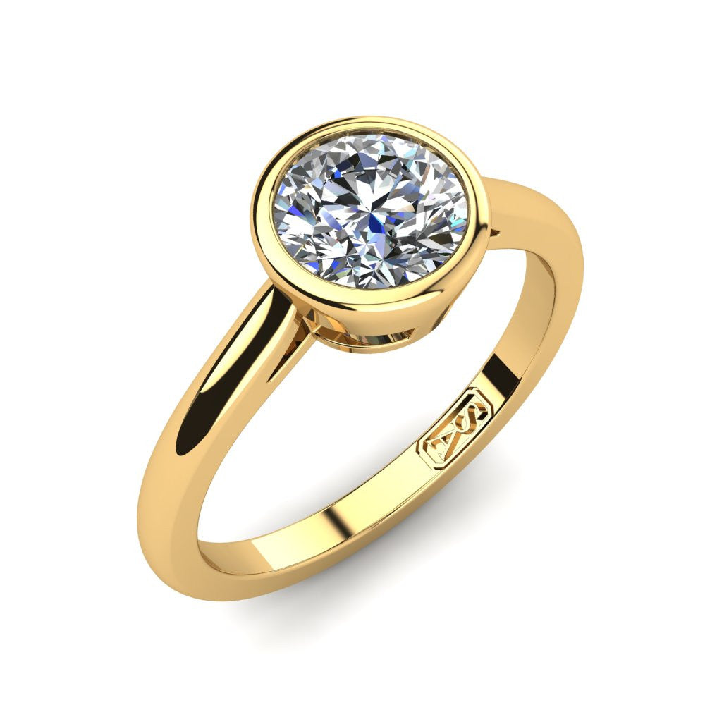 18kt Yellow Gold, Bezel Solitaire Setting with Half Round Band