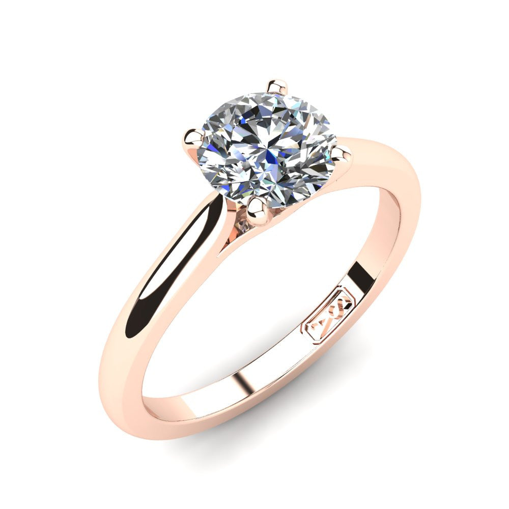18kt Rose Gold, Solitaire Setting with Cathedral Band