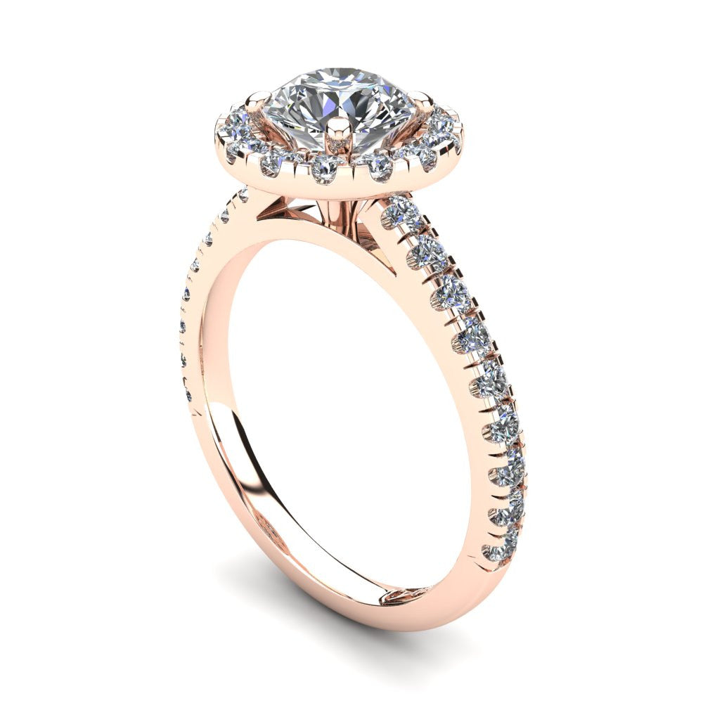 18kt Rose Gold, Halo Setting with Claw set Accent Stones