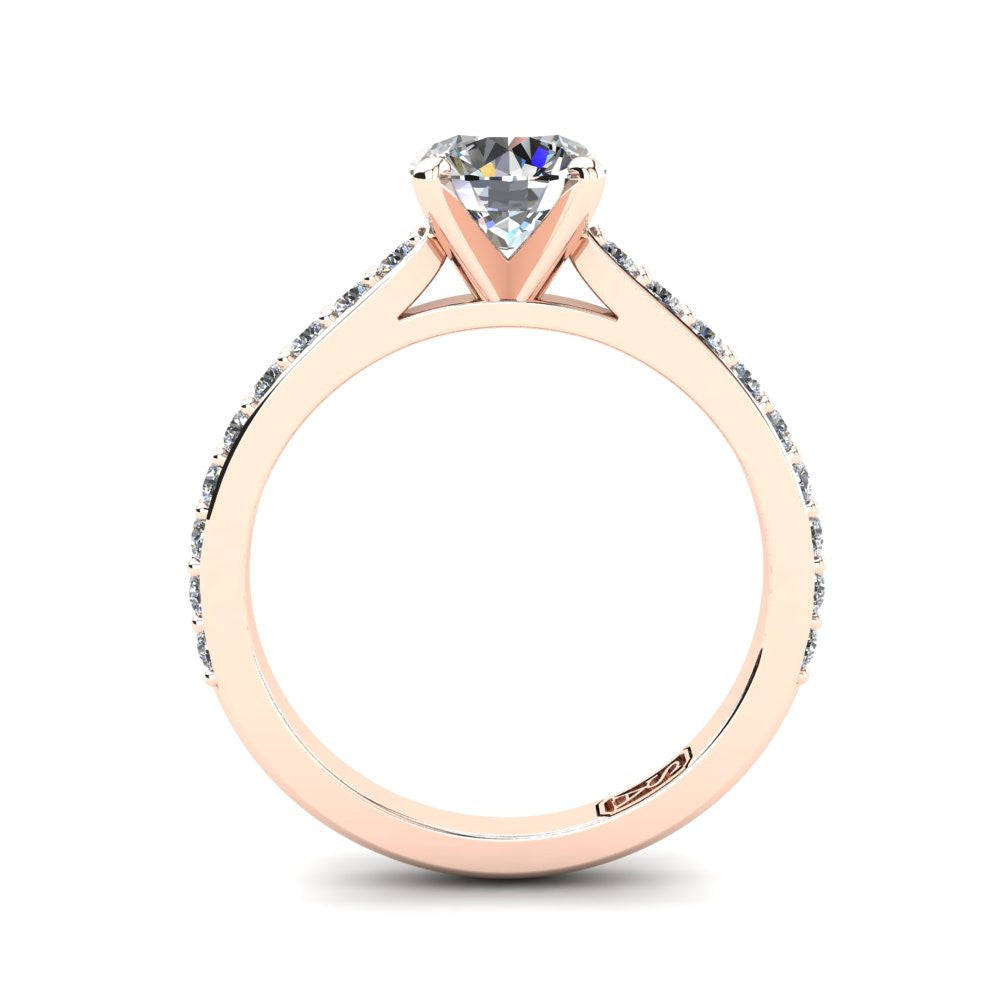 18kt Rose Gold, Solitaire Setting with Shared Claw set Accent Stones