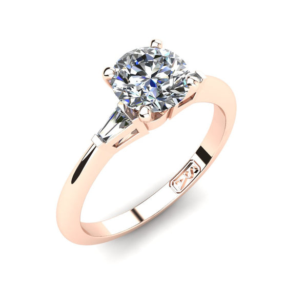 18kt Rose Gold, Solitaire Setting with Baguette Accent Stones