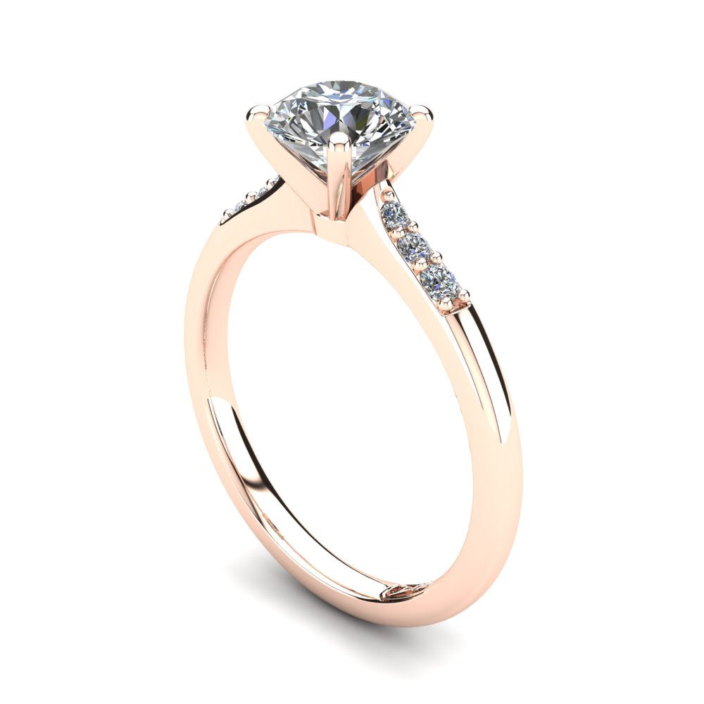 18kt Rose Gold, Solitaire Setting with Tapered Accent Stones