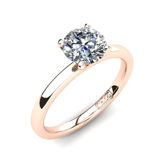 18kt Rose Gold, Solitaire Setting with Flat Round Band