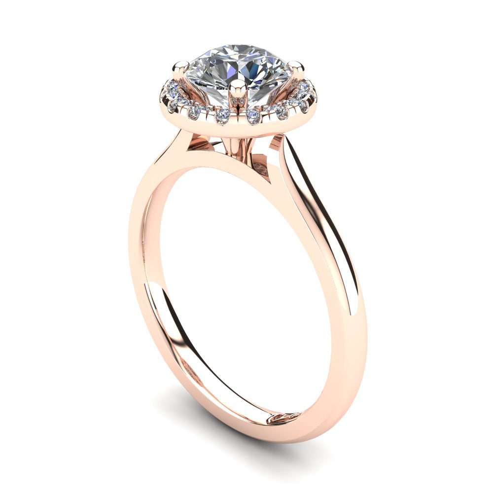 18kt Rose Gold, Halo Setting with Half Round Band