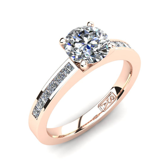 18kt Rose Gold, Solitaire Setting with Channel set Accent Stones