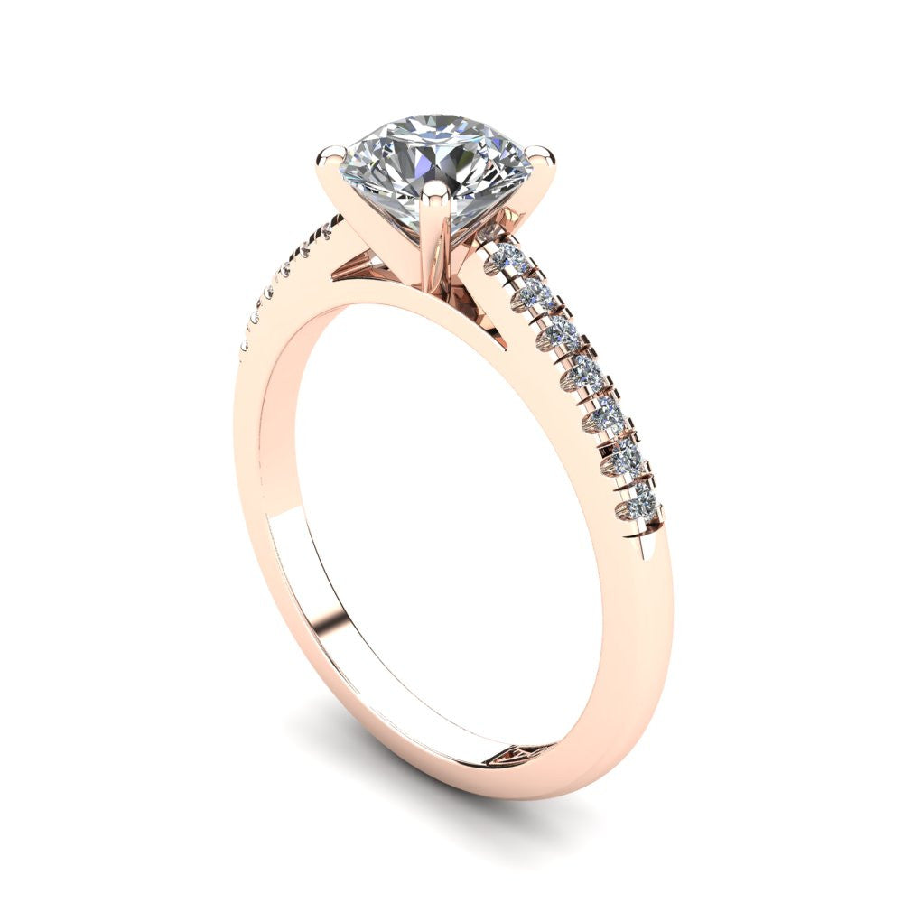 18kt Rose Gold, Solitaire Setting with Accent Stones