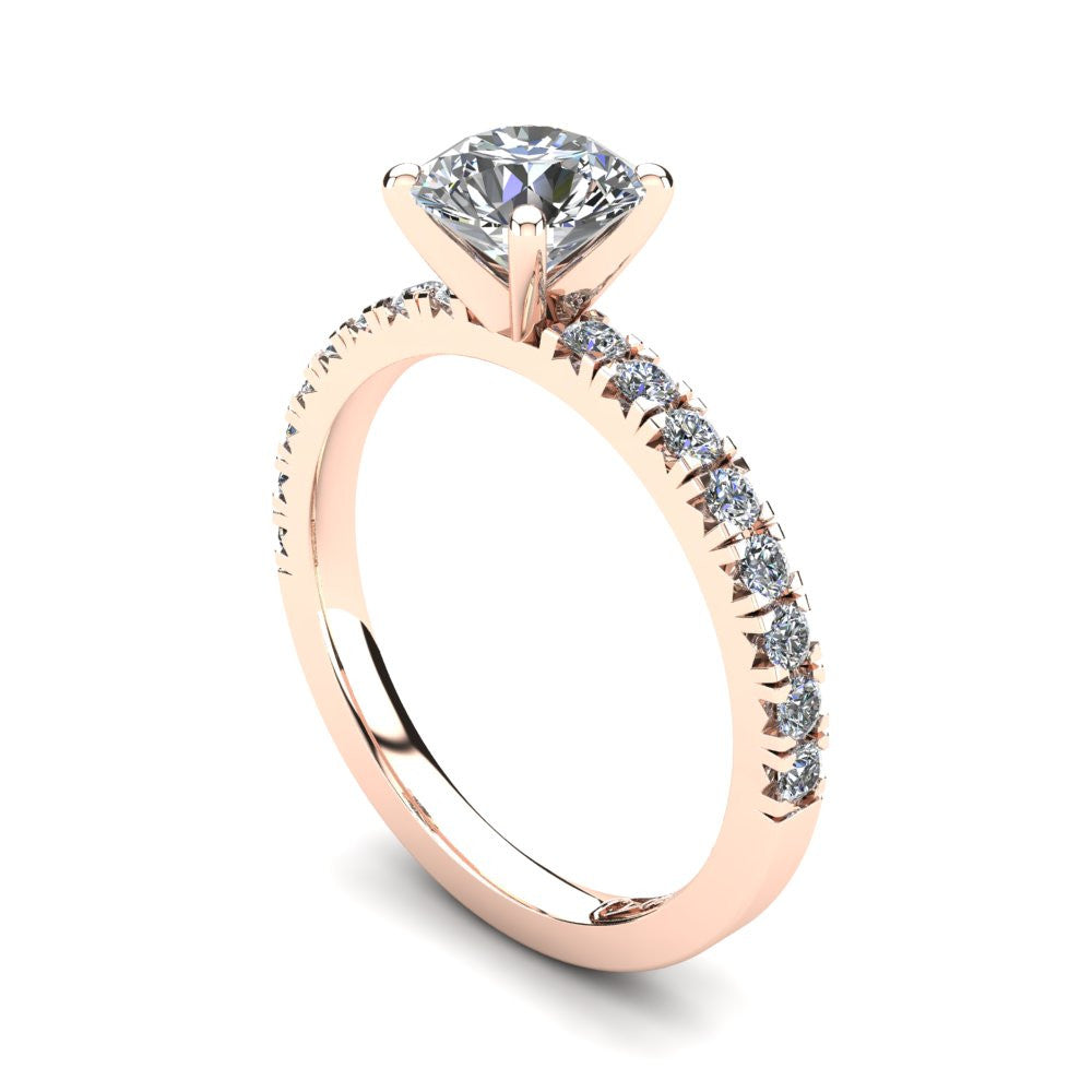 18kt Rose Gold, Solitaire Setting with Claw set Accent Stones