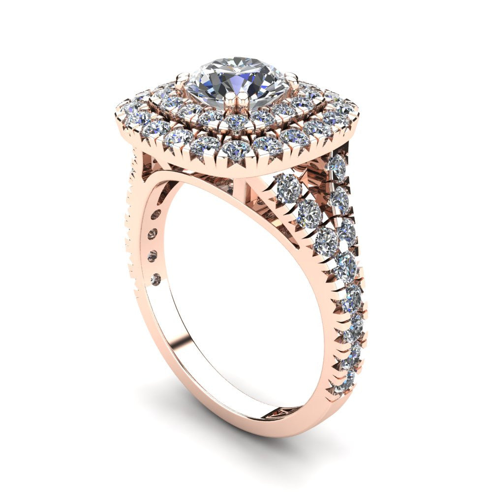 18kt Rose Gold, Double Halo Setting with Split Accent Stone Band