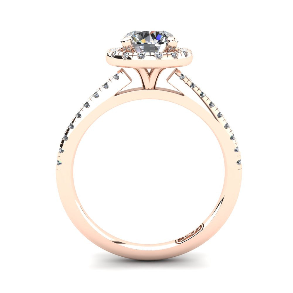18kt Rose Gold, Halo Setting with Pavé set Accent Stones