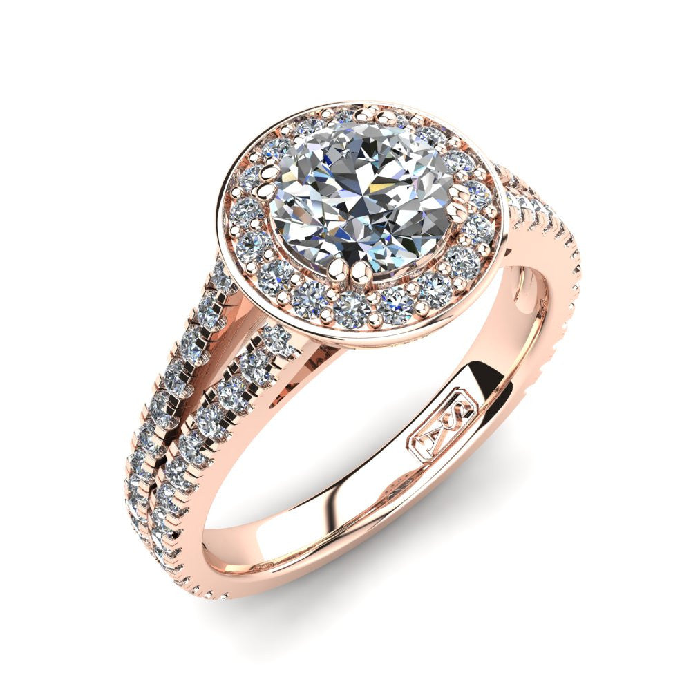 18kt Rose Gold, Halo Setting with Split Accent Stone Band