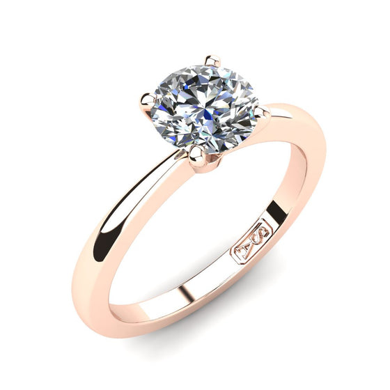 18kt Rose Gold, Solitaire Setting with Tapered Band