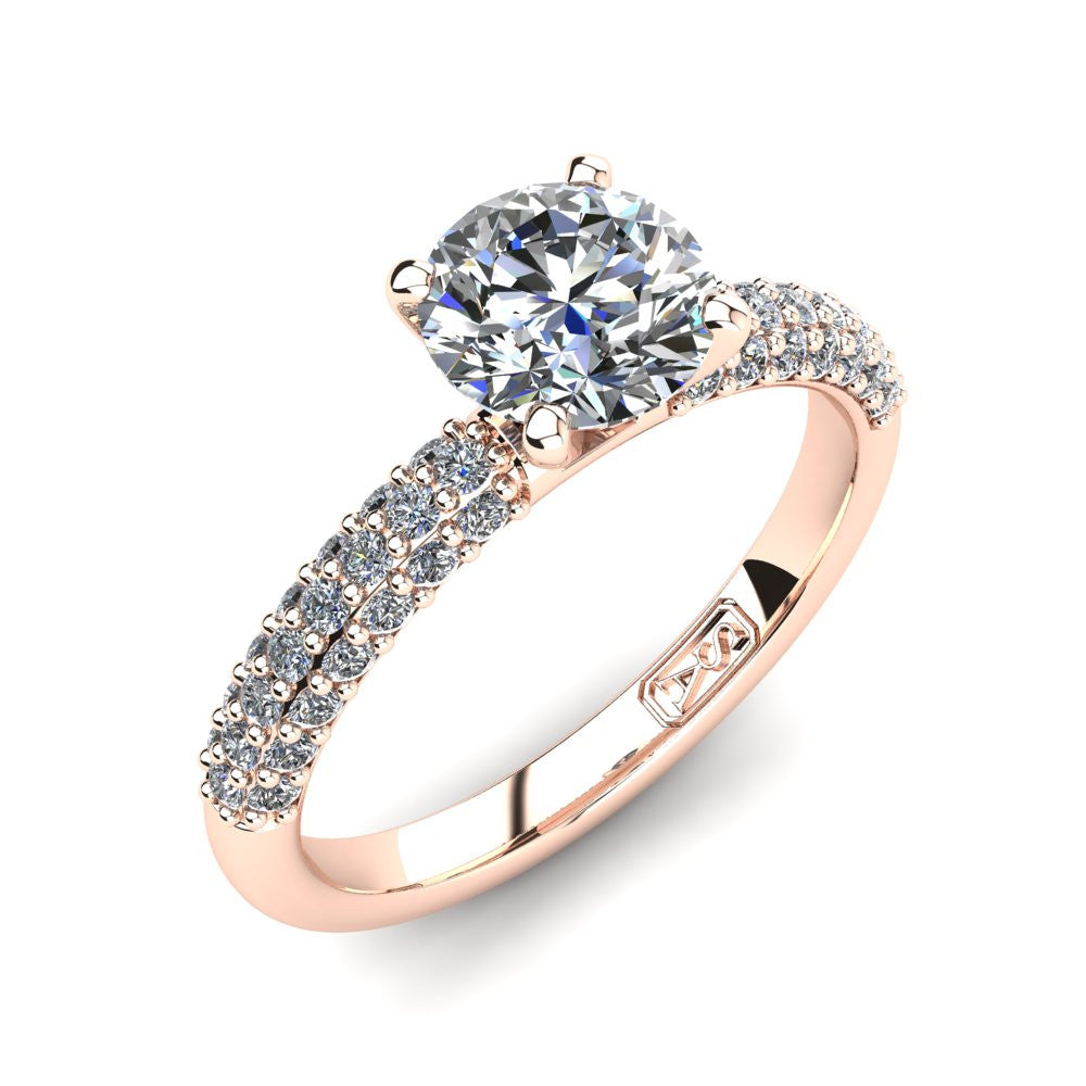 18kt Rose Gold, Solitaire Setting with 3 Row Pavé set Accent Stones