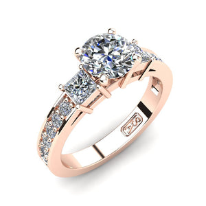 18kt Rose Gold, Tri-Stone Setting with Bead set Accent Stones