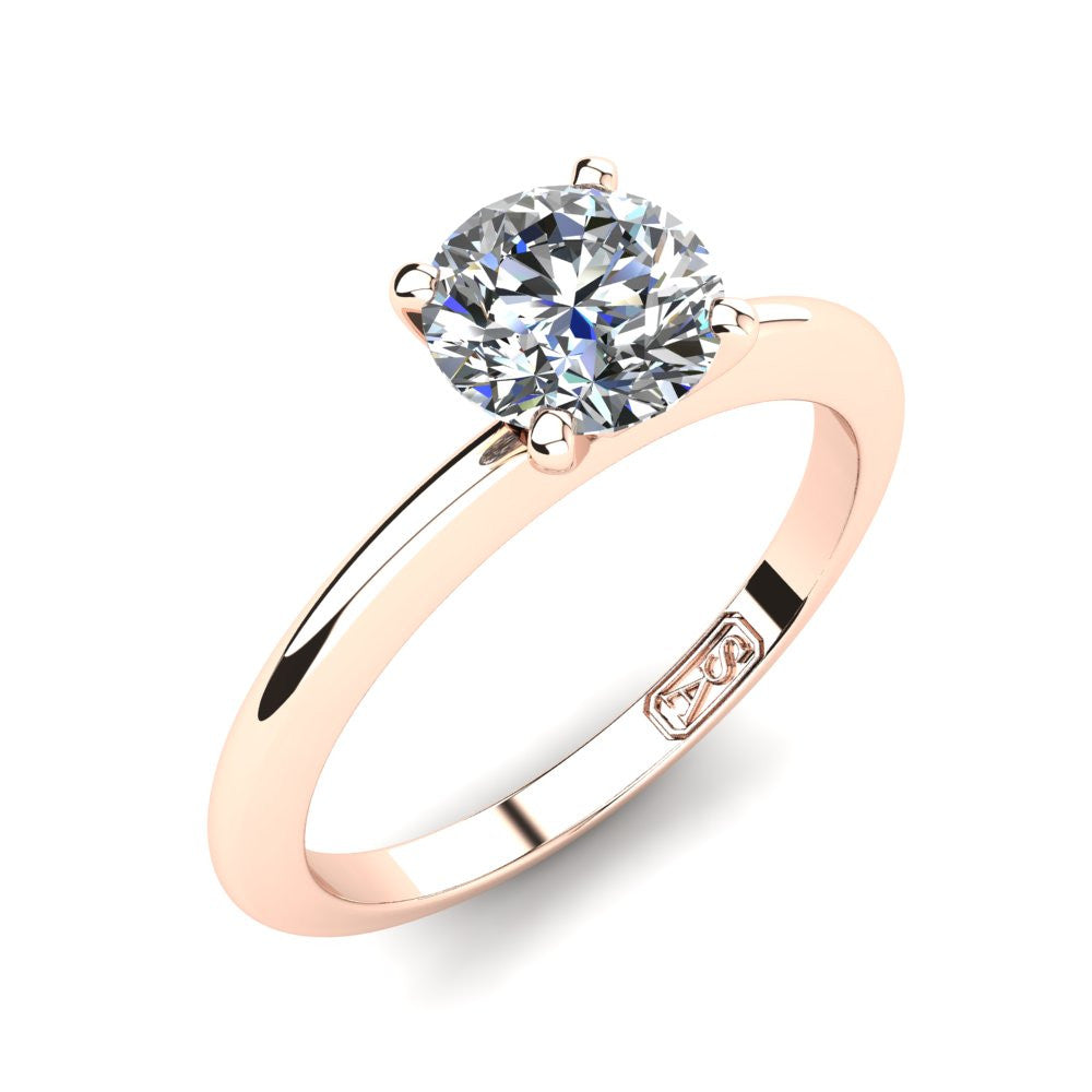 18kt Rose Gold, Solitaire Setting with Knife Edge Band