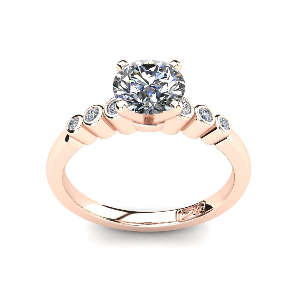 18kt Rose Gold, Solitaire Setting with Bezel set Accent Stones