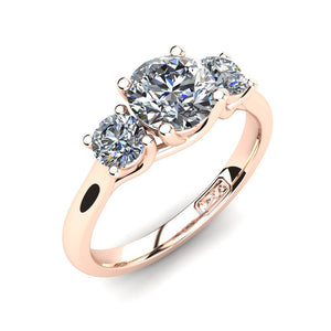 18kt Rose Gold, Trilogy Setting with Half Round Band