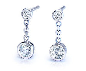 Diamond Bezel-Set Double Drop Earrings in 18k White Gold (1/2 ct. tw.)