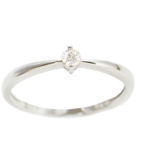 Round Brilliant prong set Diamond ring in 18kt White gold