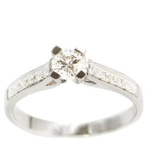 Cathedral Pave' Diamond engagement ring set in 18kt White gold (1/2ct. tw.)