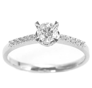 Classic four prong Diamond engagement ring set in 18kt White gold (3/8ct. tw.)