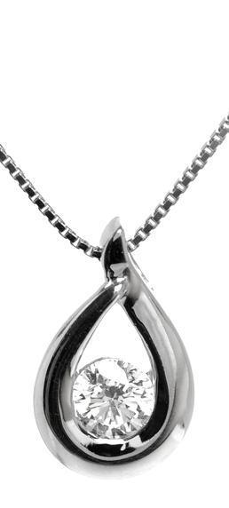 Diamond pendant set in 14kt White gold 1/3ct