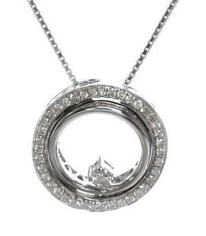 Diamond circle pendant set in 18kt White gold