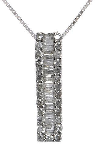 Baguette channel set Diamond Pendant in 18kt White gold ( 1/2 ct. tw)