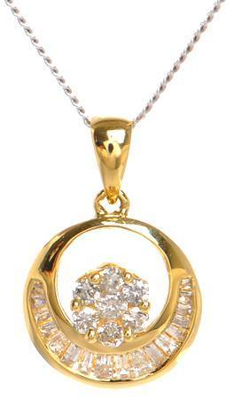 Baguette channel set Diamond Pendant in 18kt Yellow gold ( 1/4 ct. tw)