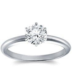 Classic Six Prong Engagement Ring in 18kt white gold