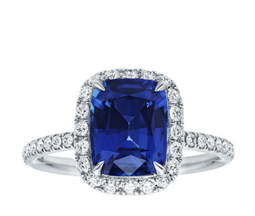 Cushion Cut Sapphire and Diamond Halo Ring