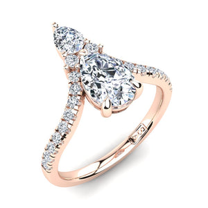 18kt Rose Gold Dual Stone Pear with Accent Stones U-Shape Setting