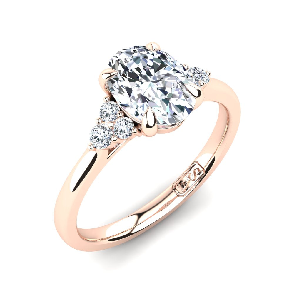 18kt Rose Gold, 4 Claw Solitaire Setting with Cluster Accent Stones