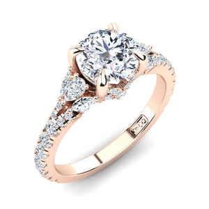 18kt Rose Gold Solitaire with Split Band and Pear Marquise and RBC Accent Stones
