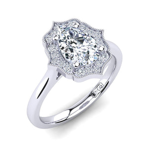 18kt White Gold Vintage Solitaire Setting with Halo