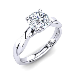 18kt White Gold Solitaire 4 Claw Setting with Twist Band
