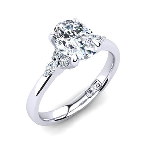 18kt White Gold, 4 Claw Solitaire Setting with Cluster RBC and Marquise Accent Stones