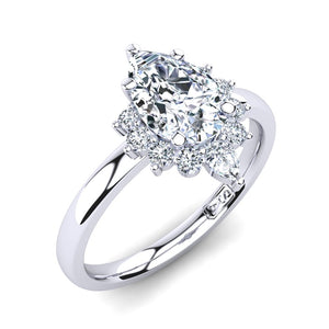 18kt White Gold Solitaire Setting with Half Halo