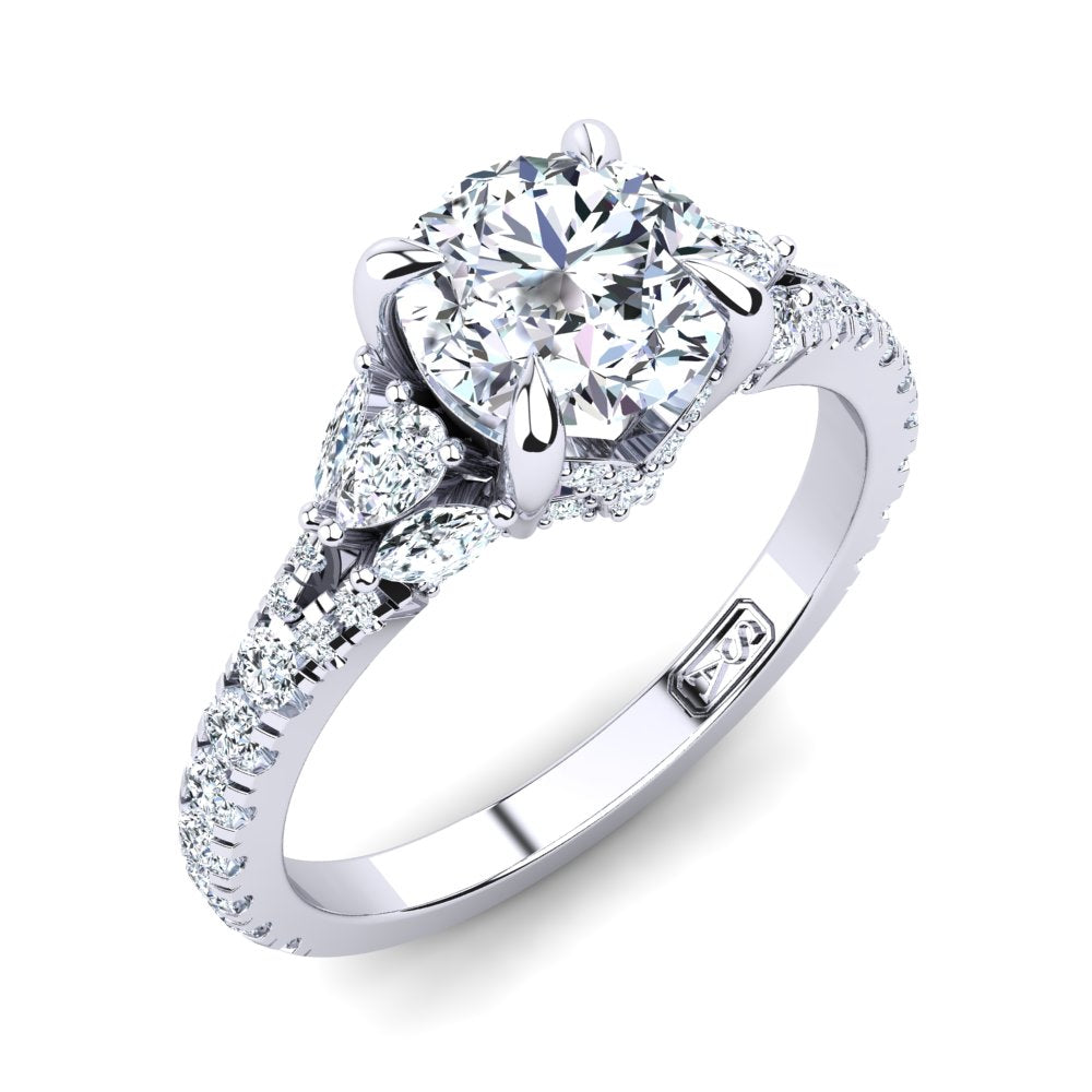 18kt White Gold Solitaire with Split Band and Pear Marquise and RBC Accent Stones