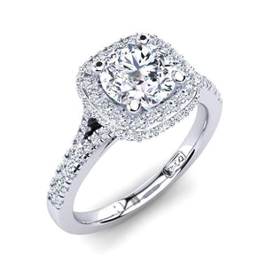 18kt White Gold Solitaire with Double Halo and Accent Diamonds with U Setting