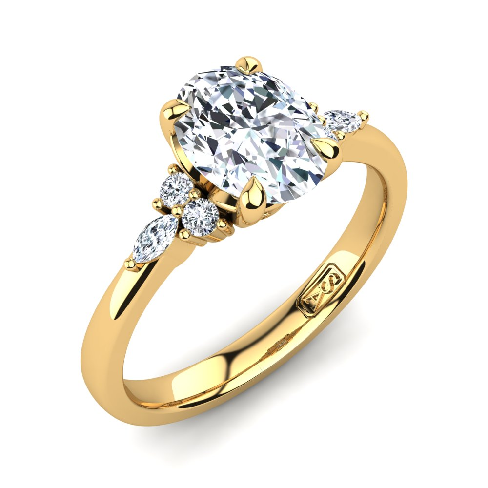 18kt Yellow Gold, 4 Claw Solitaire Filigree Basket Setting with Cluster RBC and Marquise Accent Stones