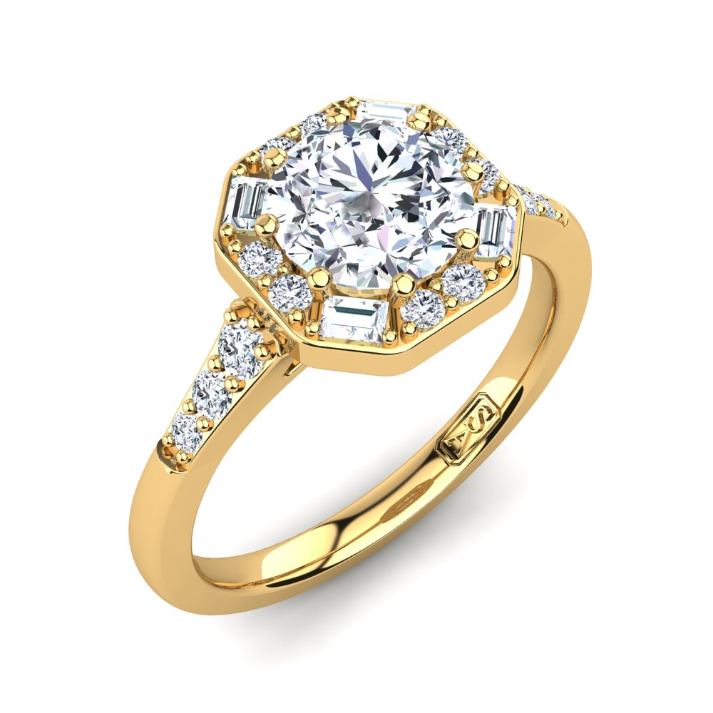 18kt Yellow Gold Solitaire with Vintage Halo and Baguette and RBC Accent Stones