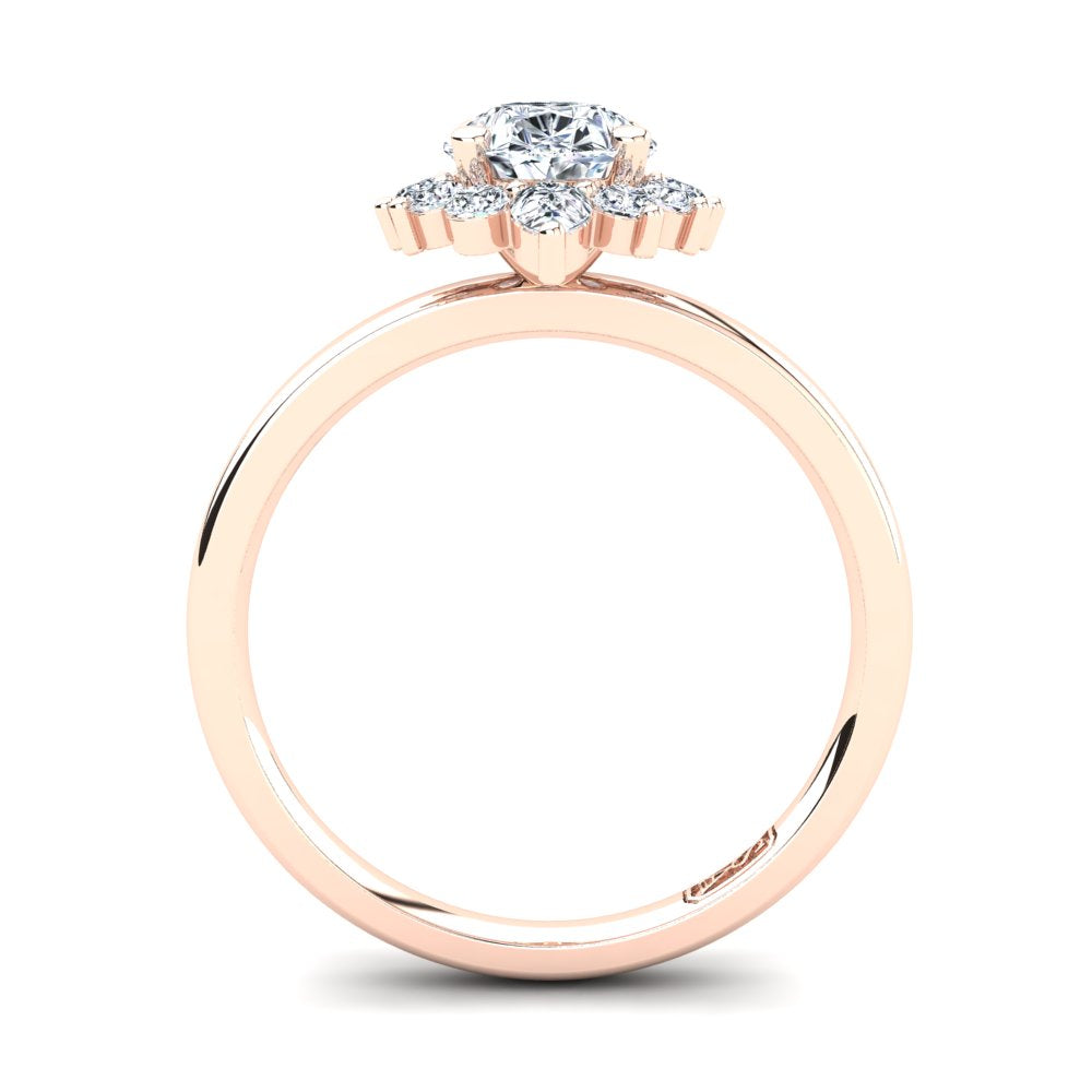 18kt Rose Gold Solitaire Setting with Half Halo