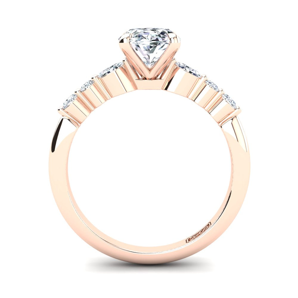 18kt Rose Gold, 4 Claw Solitaire Setting with Accent Stones