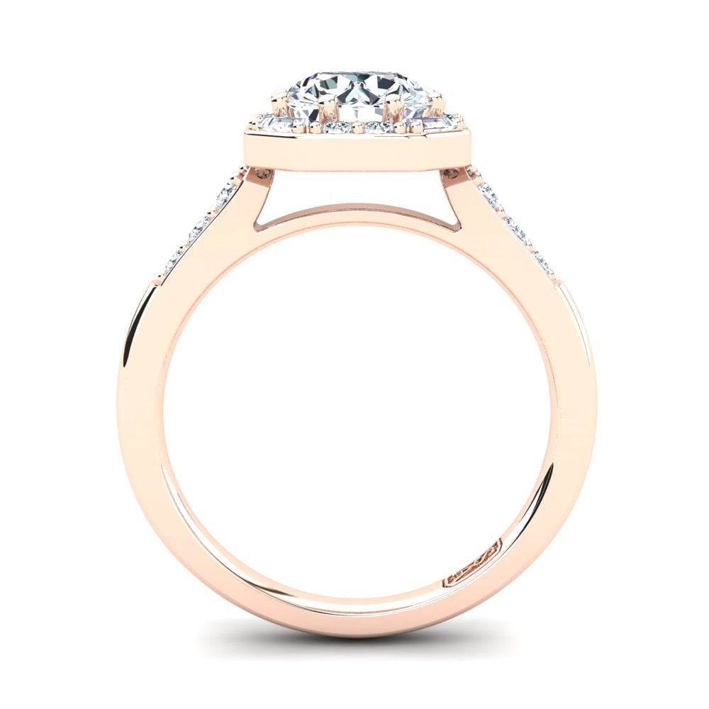 18kt Rose Gold Solitaire with Vintage Halo and Baguette and RBC Accent Stones
