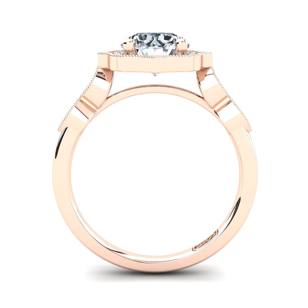 18kt Rose Gold Vintage Solitaire Setting with Halo and Accent Stones