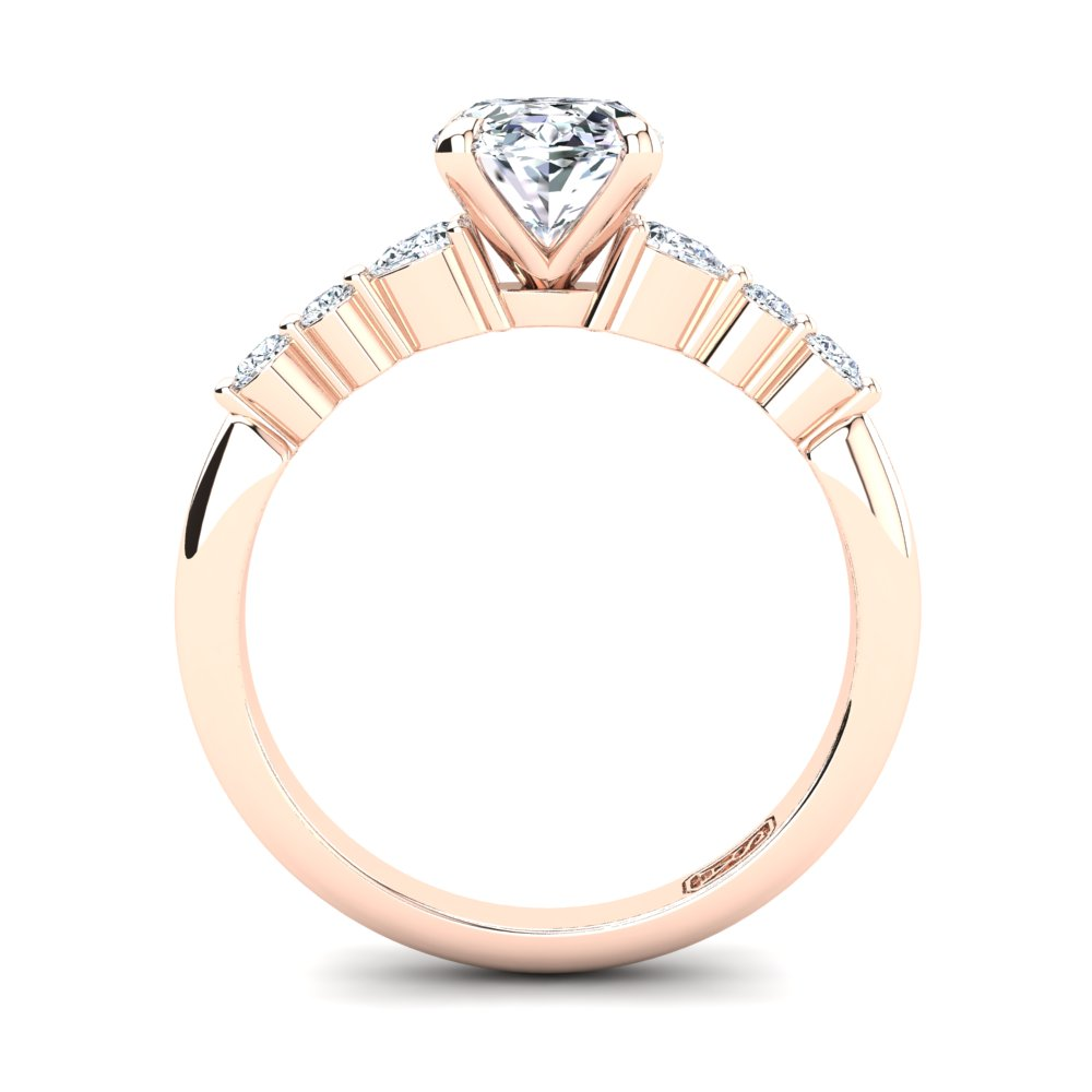 18kt Rose Gold, 4 Claw Solitaire Setting with RBC and Pear Accent Stones