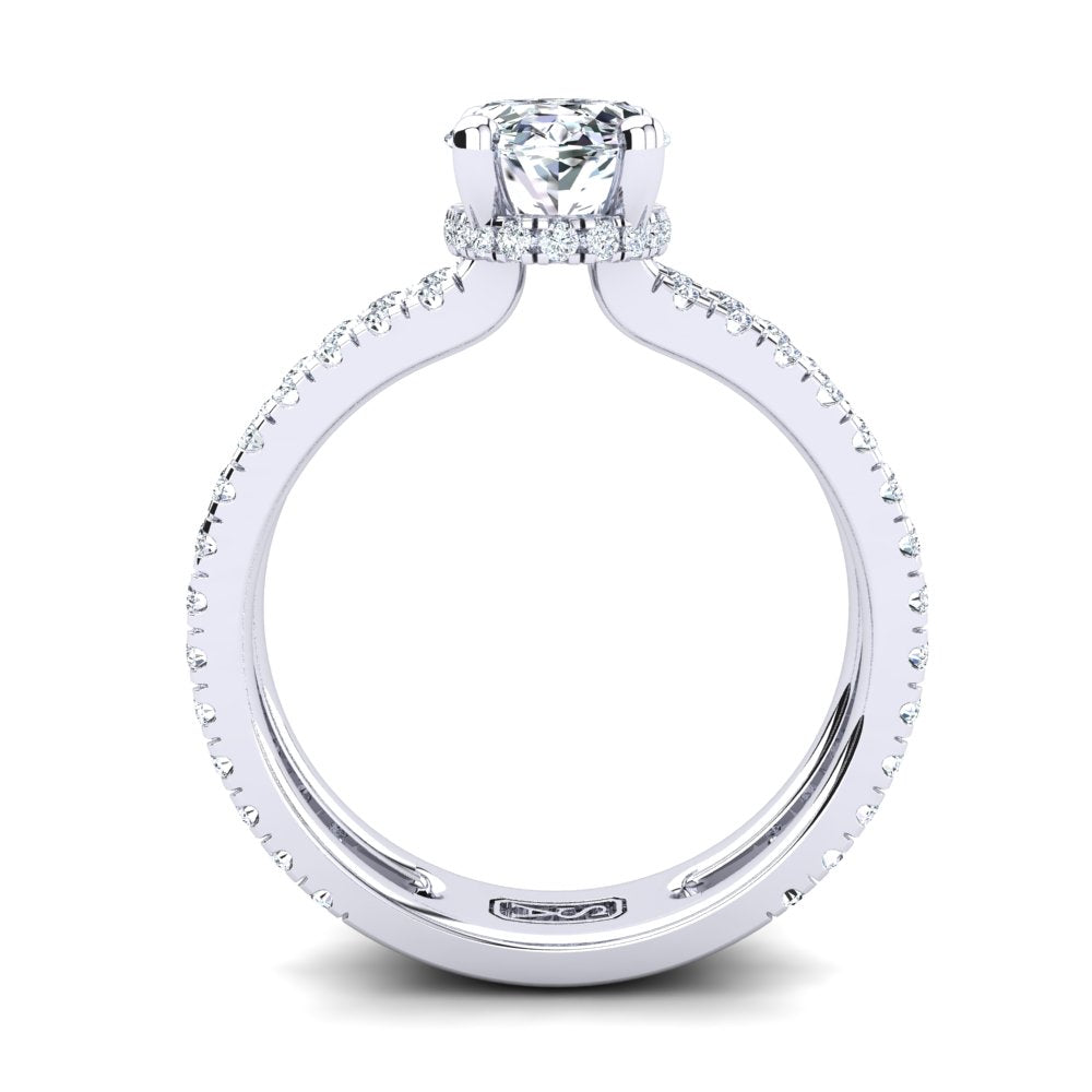 18kt White Gold, Solitaire Hidden Halo Setting, Dual Band with Scallop Setting Accent Stones