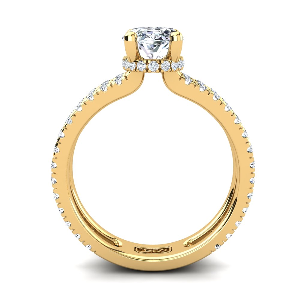 18kt Yellow Gold, Solitaire Hidden Halo Setting, Dual Band with Scallop Setting Accent Stones
