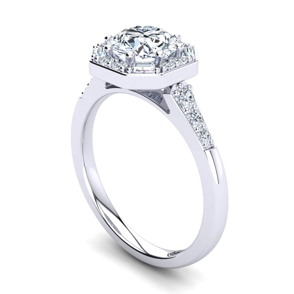 18kt White Gold Solitaire with Vintage Halo and Baguette and RBC Accent Stones